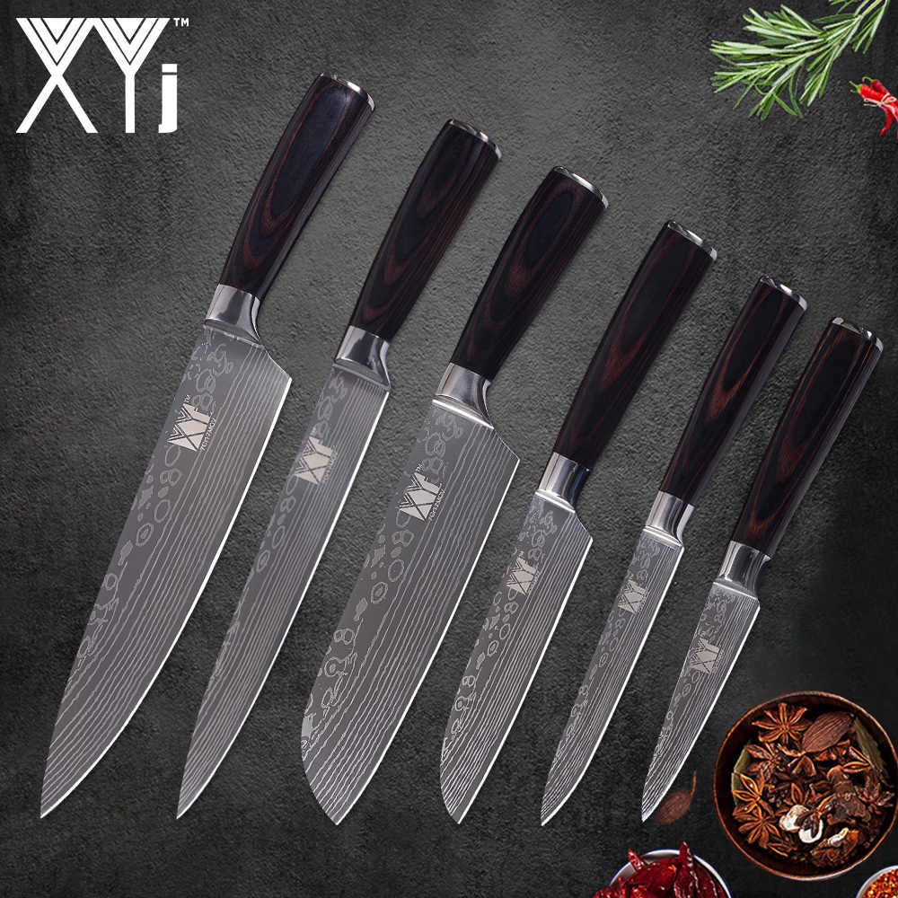 XYj Kitchen Stainless Steel Knife Set 6PCS Color Wood Handle Beauty Pattern Blade Chef Slicing Santoku Utility Paring Knives