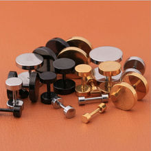 Hot Sale Female Male personality Titanium steel double-sided wafer cake screw stud earrings jewelry stainless steel earring gift
