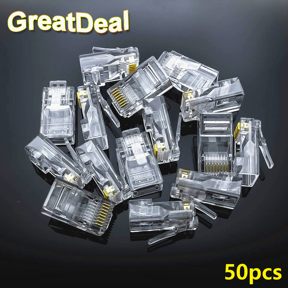 50pcs 8Pin RJ45 Connector CAT5 CAT5e Cat6 Modular Cable Plugs Socket Network Ethernet RJ45 Crystal Plug RJ45 Connectors HY327 rj45 connector cat5 cat6 lan ethernet splitter adapter 8p8c network modular plug for pc laptop 10pcs aqjg