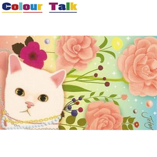 Cute Cat Painting By Numbers Flowers Picture Modular Home Decoration P-0443