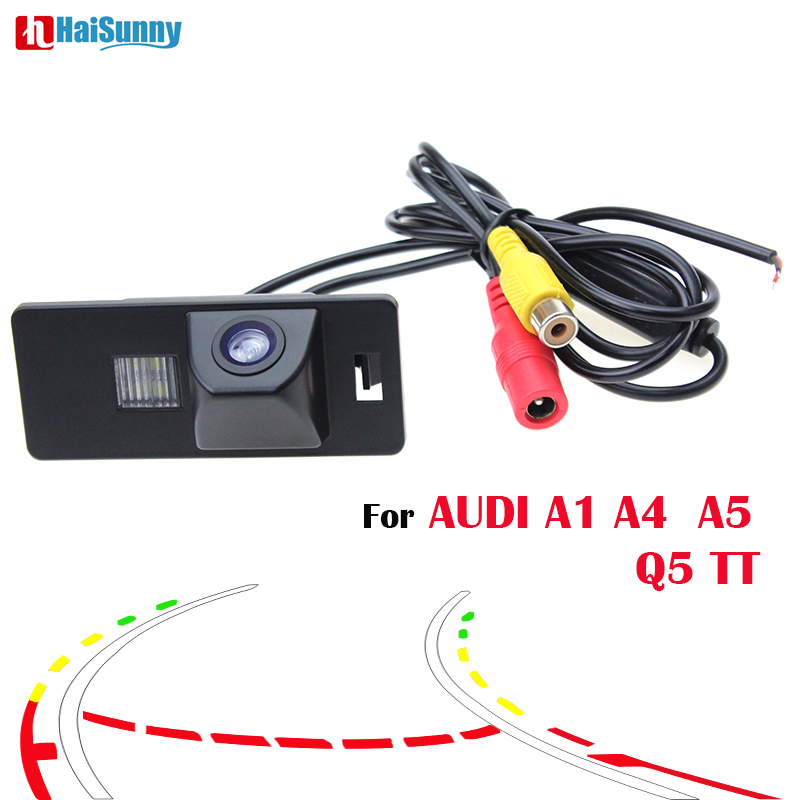 HaiSunny Intelligent Dynamic Trajectory Tracks Rear View Reversing Backup HD CCD Camera for Audi A1 A4 A5 S5 Q5 TT