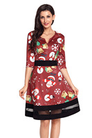 Mỏng phù hợp với phụ Phụ Nữ mùa thu đơn giản Giản Dị Ngắn Gọn 3/4 ba phần tư tay Jolly Giáng Sinh Phim Hoạt Hình In Wine A-Line Dress 61860