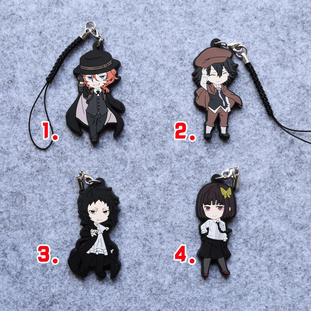 Bungo Stray Dogs Anime Edogawa Ranpo Akiko Yosano Nakahara Chuya Akutagawa Ryunosuke Japanese Rubber Keychain 2d wireless barcode area imaging scanner 2d wireless barcode gun for supermarket pos system and warehouse dhl express logistic