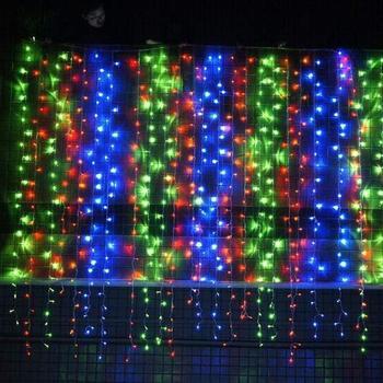 Cortina LED luces de cadena de 29V UL 300 luz Icicle LED CADENA DE 9.8ft x 9.8ft 8 modos de ajuste de secuencia de hadas de Twinkle Light