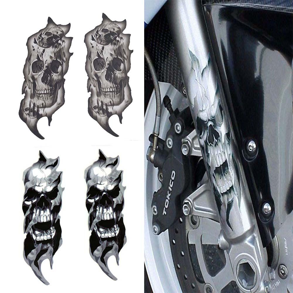1 par universal motocicleta bicicleta garfo dianteiro crânio zumbis decalques gráficos adesivos de moto para kawasaki honda yamaha harley