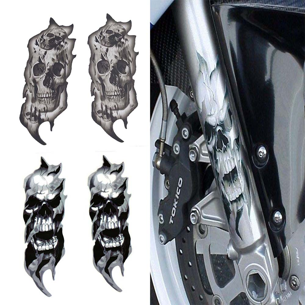 1Pair Universal Motorcycle Bike Front Fork Skull Zombie Decals Graphic Stickers Moto for Kawasaki Honda Yamaha Harley in Decals Stickers from Automobiles Motorcycles