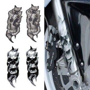1Pair Universal Motorcycle Bike Front Fork Skull Zombie Decals Graphic Stickers Moto for Kawasaki Honda Yamaha Harley(China)