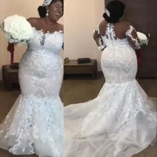 Vestidos de novia de sirena africana, aplicaciones encaje con cuentas, manga larga nupcial, Sexy, transparente, de talla grande
