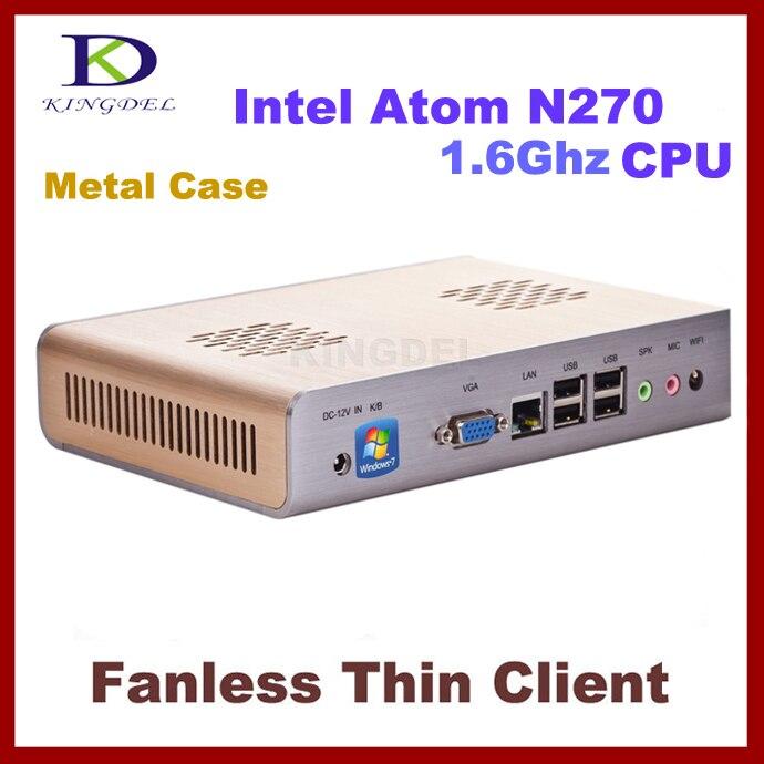 Nueva computadora del cliente fino, sin ventilador Mini PC con Intel Atom N270 1