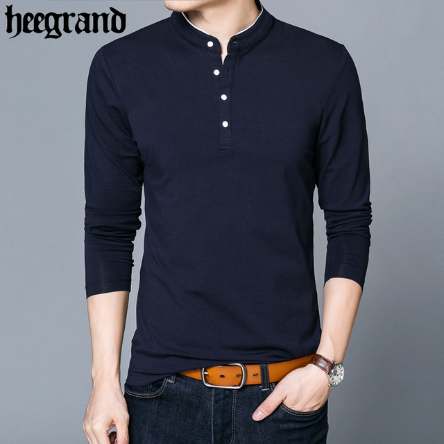 HEE GRAND Masculine Casual Slim Vertical Collar Tops Tees Leisure Plain Color Mature Men Polos MZL697