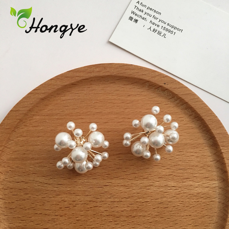 Hongye Beaded Stud Earrings with Natural Pearls Sterling Silver Needle Female Fashion Ear Jewelry Designer Firework Boutique in Earrings from Jewelry Accessories