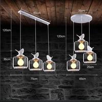 LukLoy LED 3Heads Resin Glass Bird Pendant Light Nordic postmodern Pendant Light for Living Room Dining Room Study Bedroom Bar
