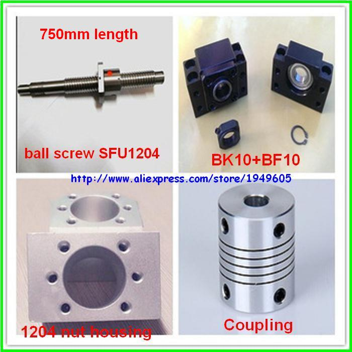 1pc 1204 Ball Screw SFU1204-750mm + 1pc 1204 Nut Housing + 1set BK10 BF10 support + 1pc 6.35x8mm Coupling
