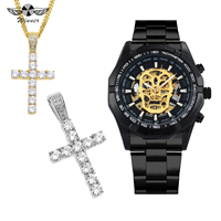 WINNER HIP HOP Auto Mechanical Mens Watches Top Brand Luxury Jewelry Set + Punk Iced Out Cross Necklace for Man