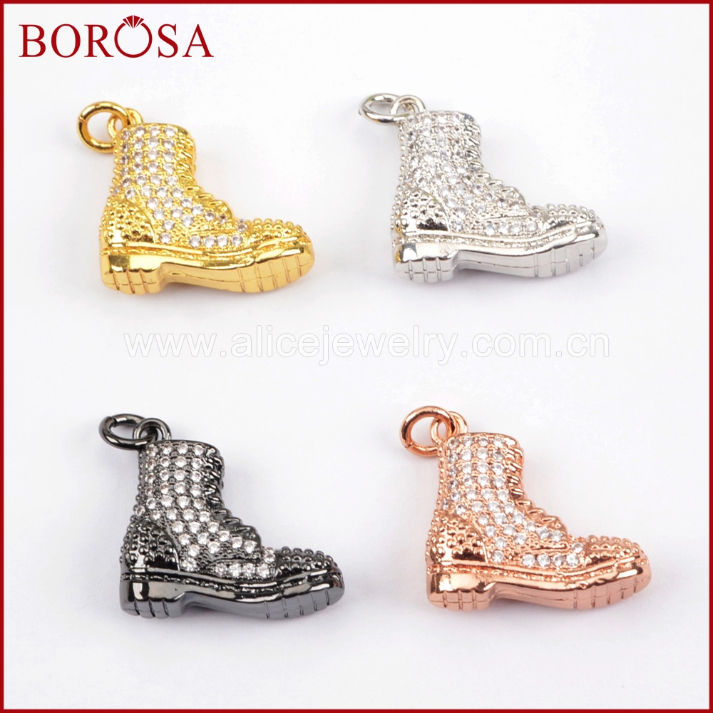 BOROSA Design 15pcs Micro Pave CZ Cubic Zirconia Crystal Lovely Shoes Boot Necklaces Pendants for Women Jewelry WX859