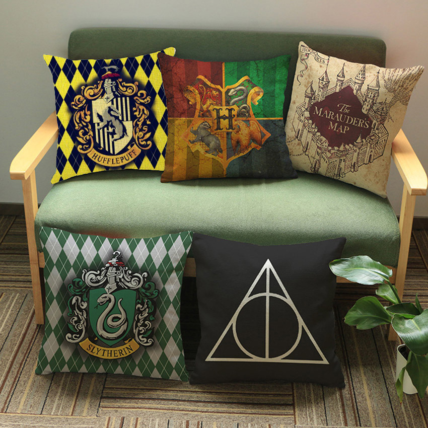 Harry Potter Pillow For Home Decoration Waist Cushion Cover Hogwarts Death Geometrics Sign Movie Poster Sofa Throw Pillow Cases