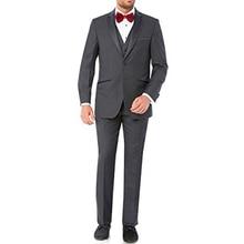2018 Gray Wedding Groom Tuxedso Groomsmen Wear Three Piece Jacket Pants Vest Notched Lapel Custom Made Business Formal Men Suits