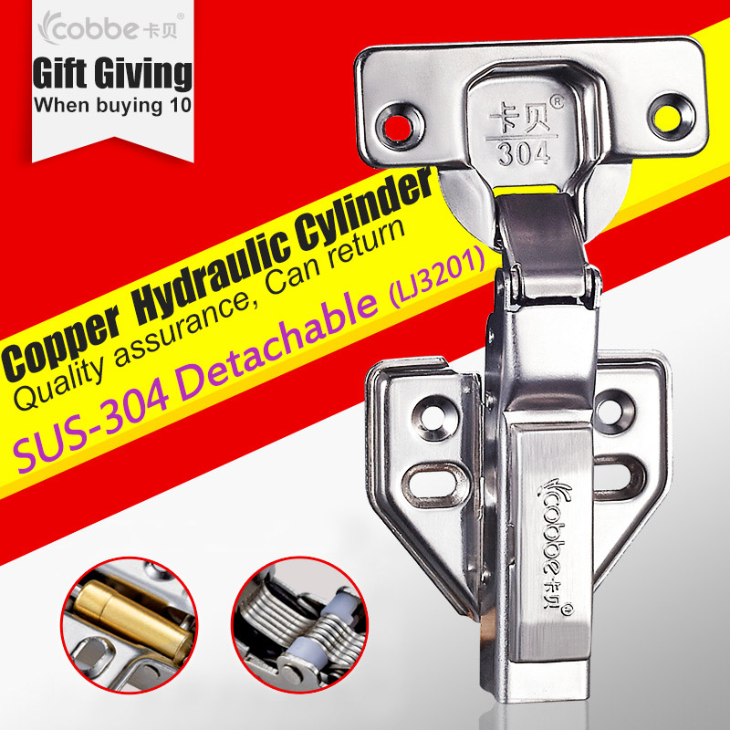 SUS 304 Stainless Hinges Kitchen Furniture Buffer Cabinets Door Cupboard Brass D&ing Mute Hydraulic PressureDetachable Type
