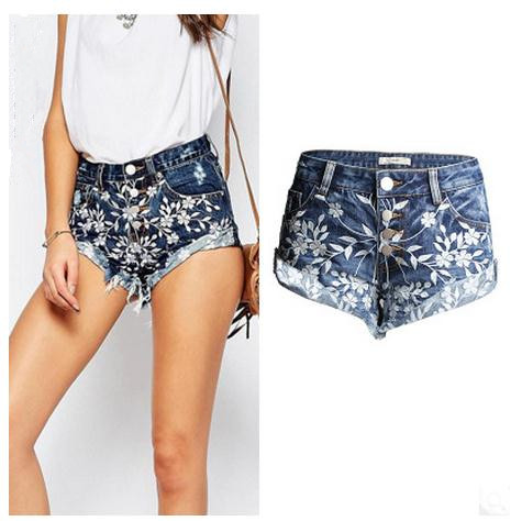 2017 2Womens Summer Embroidered Flowers Printing Shorts Feminino Denim Jeans Shorts Sext Wide Leg Female Shorts Jeans J148