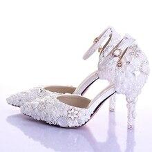 Blanco Perla de imitación zapatos de boda Pointed Toe nupciales zapatos de tacón  alto con correas de tobillo Sexy mujer vestido . 25dfe9dc0b76