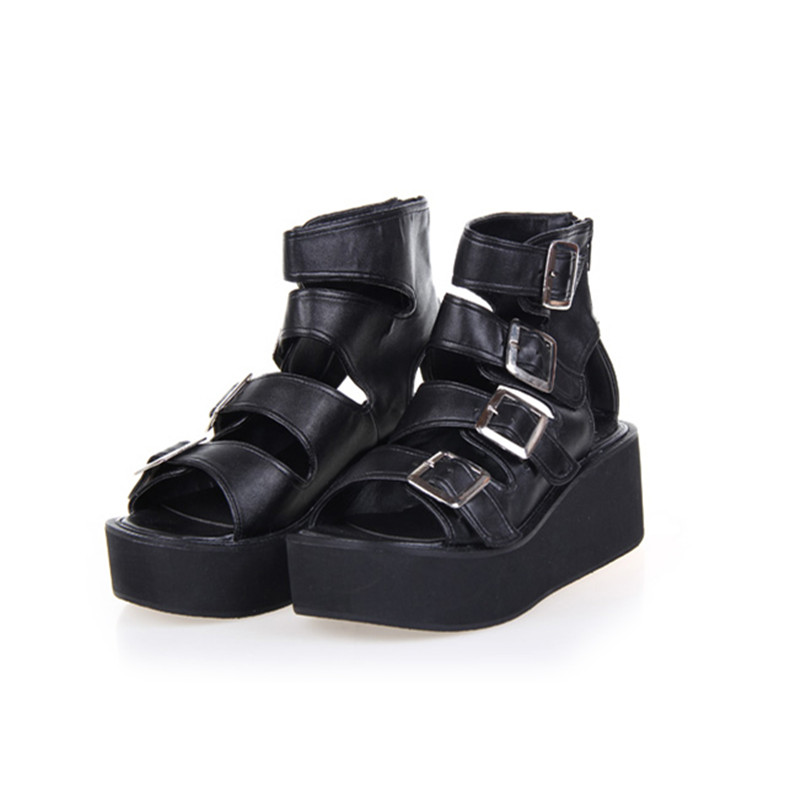 Cosplay Chaussures Punk Rock Sandales Femmes Lolita Plateforme 9IWEYDH2