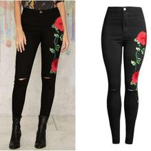 New 2017 Women's Vintage Embroider Flowers Jeans Sexy Ripped Pencil Stretch Denim Pants Female Slim Skinny Trousers Jeans 2XL
