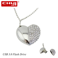 CHYI USB 3.0 Flash Drives Pen Drive 8/16/32/64GB Flash Disk Love shape Necklace Memory Stick Pendrive for Promotion Gift U Disk