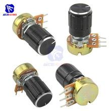 5 шт. 1 K, 2K 5K 10K 20K 50K 100K 250K 500K 1 МОм 3Pin рифленый вал потенциометра Линейный подшипник с коническим поворотный потенциометр резистор w/ручка для audrino