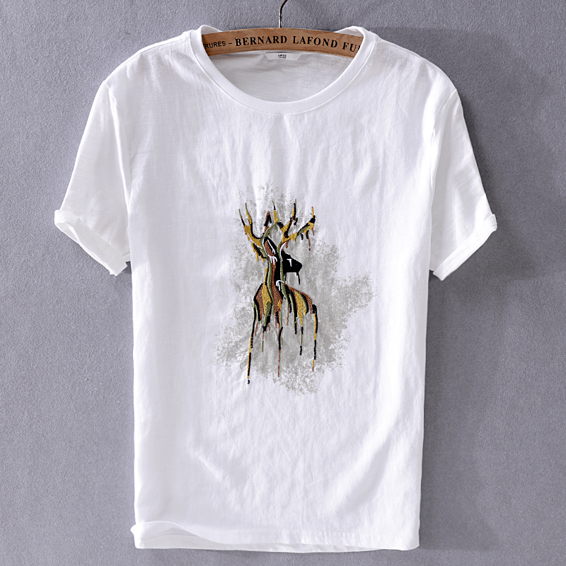 2019 Summer Men's New Casual Short-sleeved White Linen T-shirt Japanese Embroidery Trend Mens T Shirt Fashion Tops Male Chemise