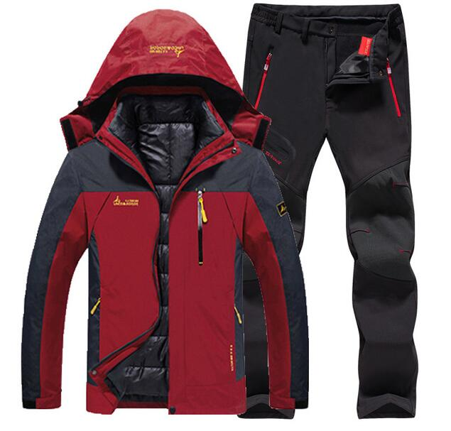 Men Winter Ski Jackets Pant suit Outdoor Fishing Hiking Camping Waterproof Thermal 3 in 1 Jackets +Fleece pants set Plus Size6XL men plus size 4xl 5xl 6xl 7xl 8xl 9xl winter pant sport fleece lined softshell warm outdoor climbing snow soft shell pant