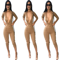 2017 Hot New Sexy Slim Couture Burst Deep V Jumpsuit