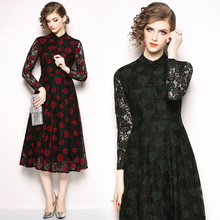 New temperament long-sleeved dress retro hollow long lace fashion elegant party