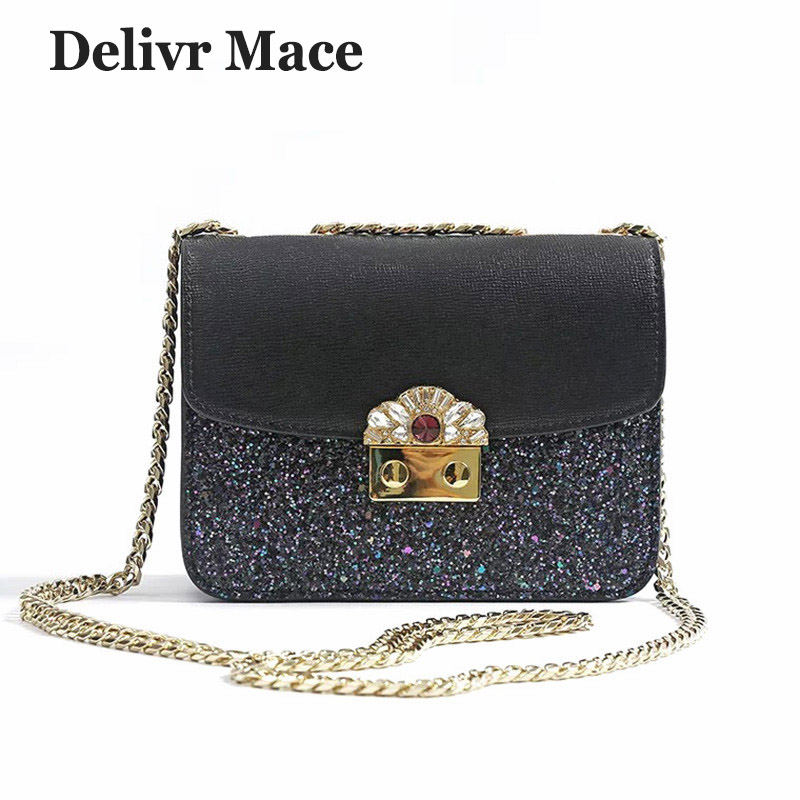 Bags For Women 2018 Famous Brand Split Leather Glitter Mini Chain Flap Bag Sac A Main Female Shoulder Bags Ladies Crossbody Bag brand fashion women bag female chain shoulder crossbody bags ladies split leather geometric pattern hit color messenger bags sac