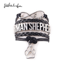 Little MingLou Infinity love GERMAN SHEPHERD dog pet paw charm bracelets & bangles for women men jewelry drop shipping