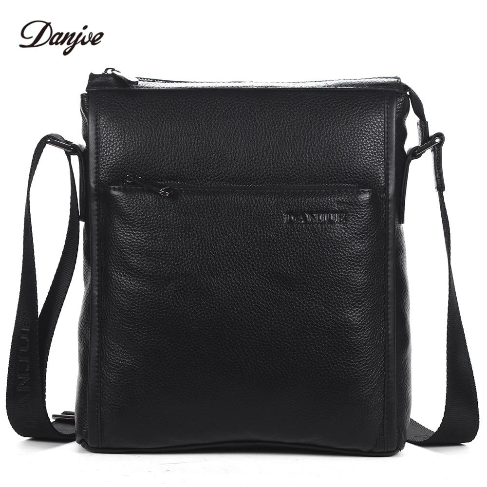 DANJUE Men Bag Genuine Leather Messenger Bag Male Vertical Black Business Crossbody Bag Classic Zipper Casual Shoulder Bag Man