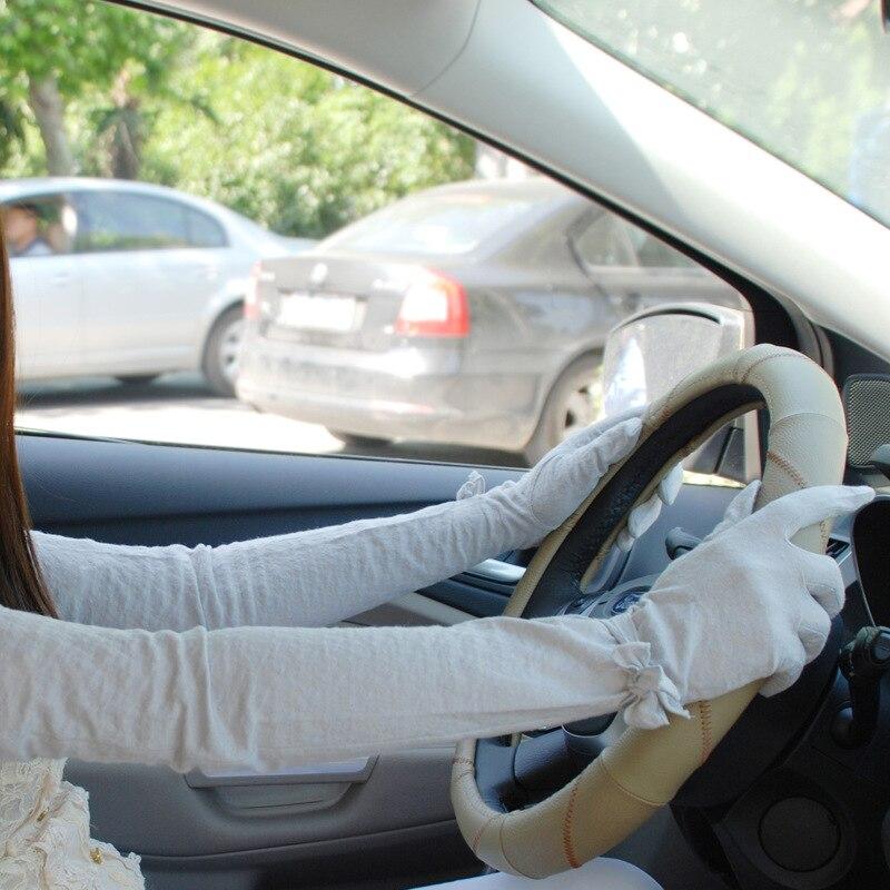 Summer Sunscreen Gloves Women Opera 60cm Long Opera Sleeve Cotton Lace Gloves Anti UV Slip Resistant Driving Gloves Full Finger