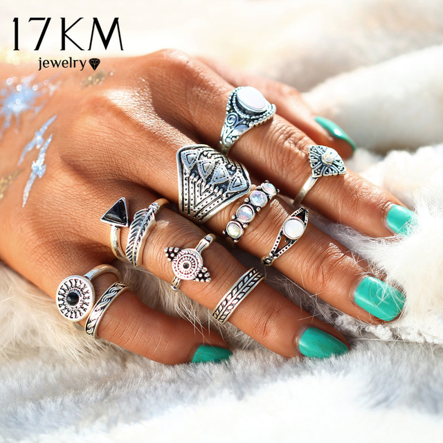 Fashion Leaf Stone Midi Ring Sets New 2017 Vintage Crystal Opal Knuckle Rings for Women Anillos Mujer Jewellery 10PCS/Lot
