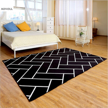 AOVOLL White and Black Soft Carpets For Living Room Bedroom Kid Room Rugs Home Carpet Floor Door Mat Fashion Delicate Area Rug