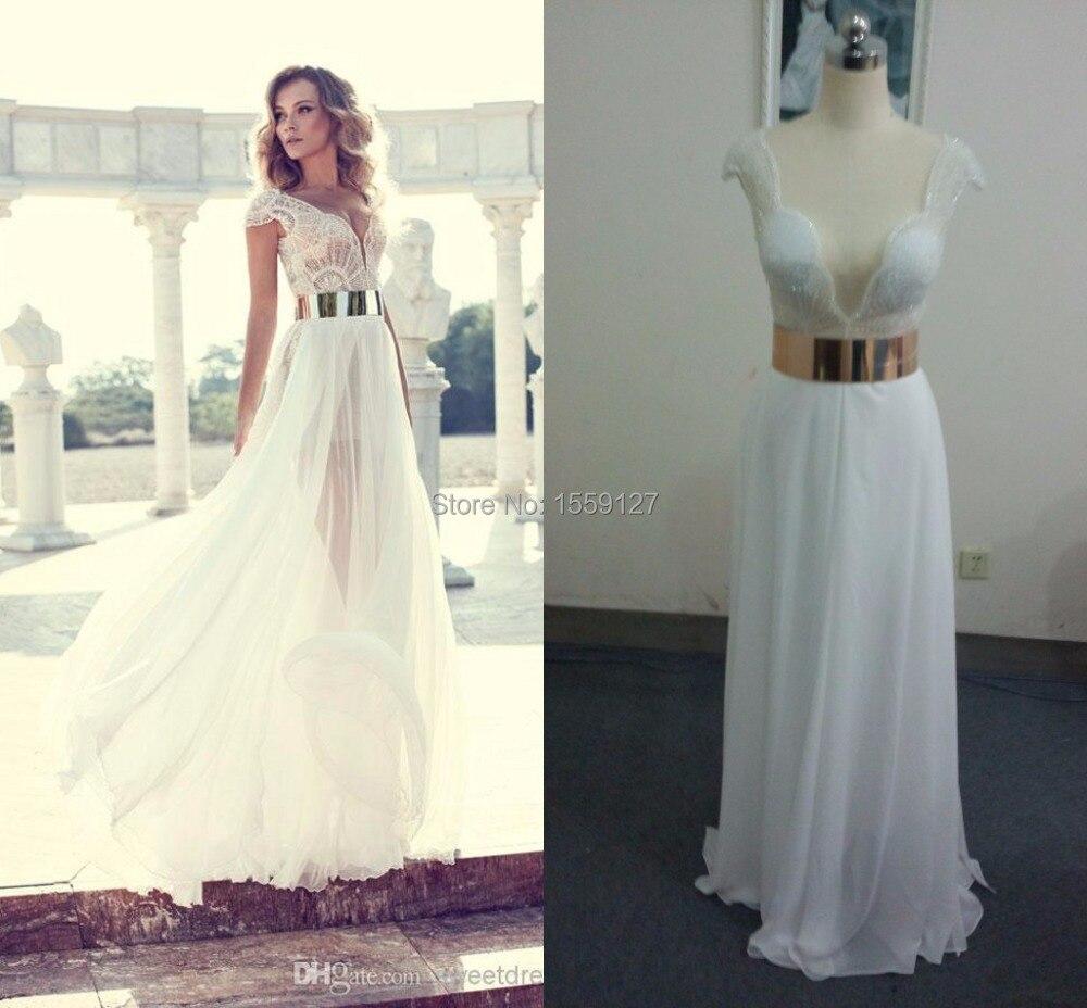 2017 Julie Vino Wedding Dresses Sexy Beach Sash A Line High Slit Ivory  Chiffon Short Sleeve Sheer Wedding Dresses VestidosFE0383-in Wedding Dresses  from ... f4dbb24a0aaa