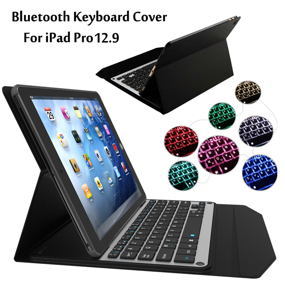 New 2017 For iPad Pro 12.9 inch Tablet 7 Colors LED Backlit Ultra thin Wireless Bluetooth Aluminum Keyboard Case cover + Gift цена и фото