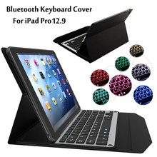New 2017 For iPad Pro 12.9 inch Tablet 7 Colors LED Backlit Ultra thin Wireless Bluetooth Aluminum Keyboard Case cover + Gift