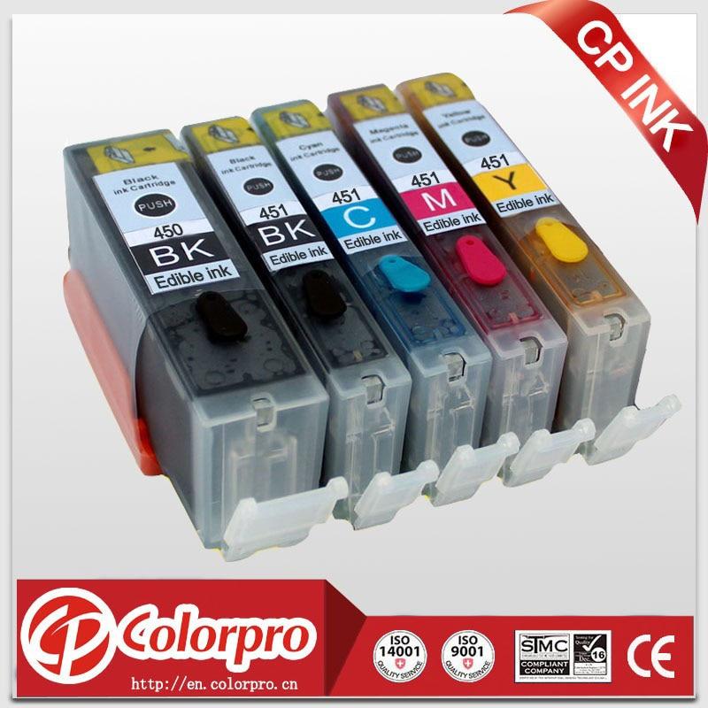Envío gratis 5PK PGI450 CLI451 Cartucho de tinta comestible para Canon PIXMA MG5440 / MG5450 / iP7240 / IP7250 / MG6340 / MG6350