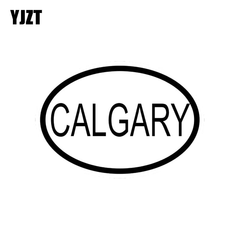YJZT 13.9CM*9.5CM VINYL DECAL CALGARY CITY COUNTRY CODE OVAL CAR STICKER Black Silver C10-01199