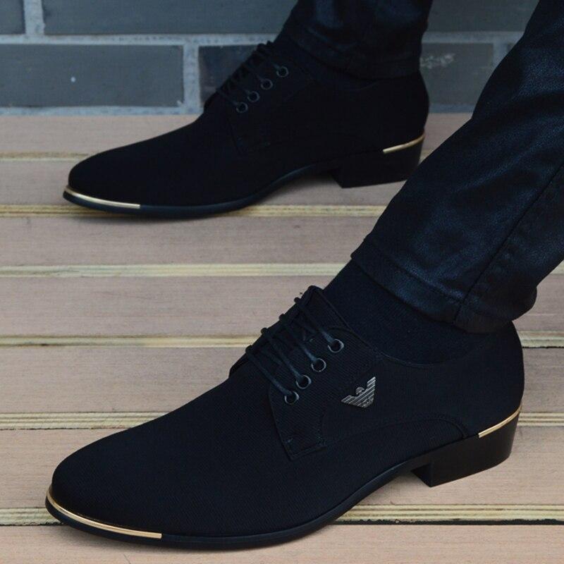 Sapatos de casamento de moda de couro preto masculino sapatos de couro masculino