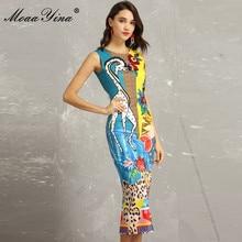 MoaaYina Fashion Designer Runway Dress Summer Women s Sleeveless Giraffe  Floral-Print Beading Indie Folk Packet 3aaf4c504