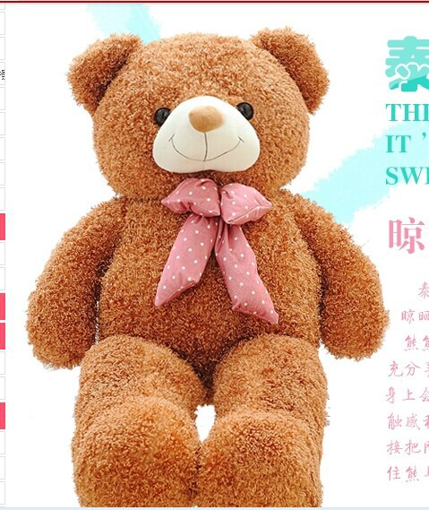 lovely light brown teddy bear doll candy colours teddy bear with spots bow plush toy doll birthday gift about 100cm new creative plush bear toy cute lying bow teddy bear doll gift about 50cm