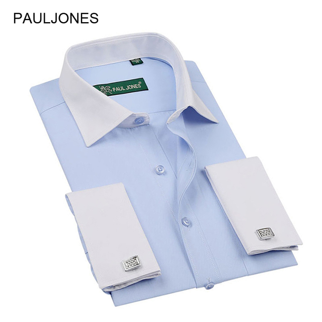2017 Men's clothing High quality classic french cuff shirts Long sleeve dress shirt men Business men formal shirts 20 colors