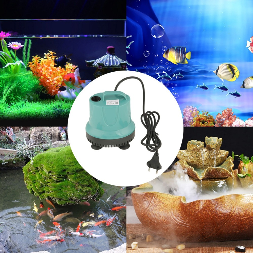2 Types 2000L/H 220 240V Plastic Fish Tank Aquarium Water Submersible Pump Blue With EU Plug Good Insulation Powerhead Water
