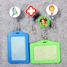 Doctor & Nurse Badge Scroll Girl Reel Cute Scalable Exhibition W Hospital Entrance Guard Card ID PU Holder