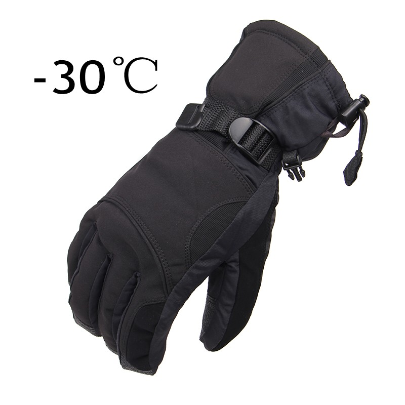 New Man Winter Ski Sport Waterproof Gloves -30 Degree Warm Snowboard Skiing Gloves Riding Motorcycle Gloves With LOGO, Black